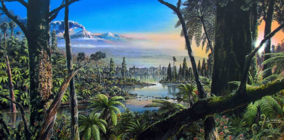 So könnte der Antarktis-Wald vor 90 Millionen Jahren ausgesehen haben.  (Grafik: Alfred-Wegener-Institut, James McKay)